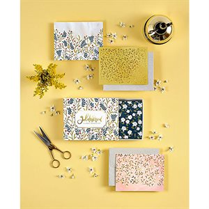 BOXED CARD SET GOLDENROD FLORAL BY MODA - SET OF 8 /  MIN. OF 3
