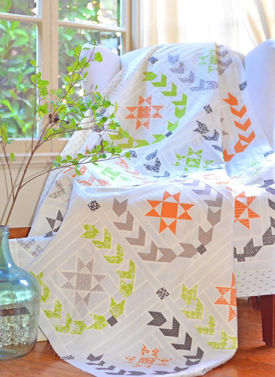 Pumpkins and Blossoms Fabric Quilt