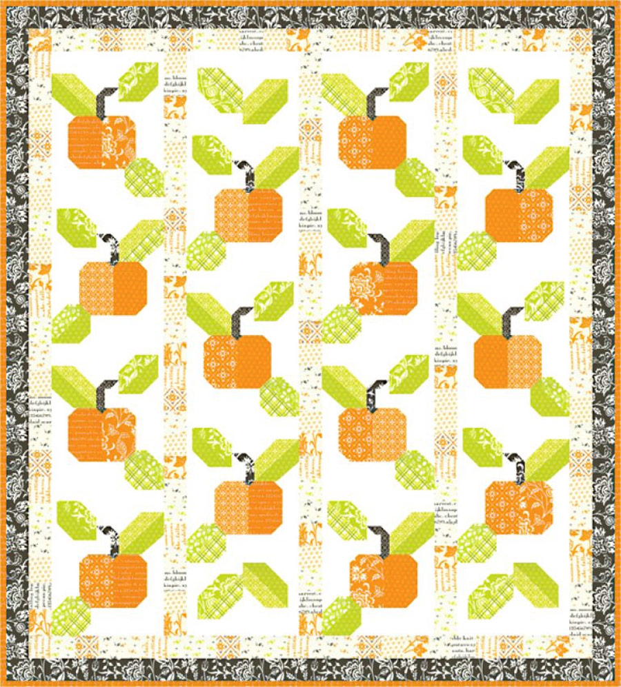 Pumpkins and Blossoms Fabric Pattern